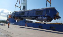 Diesel locomotive loading onto a train